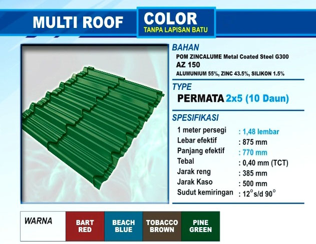 Genteng Multiroof Color Permata